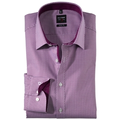 Olymp Level Five Body Fit Shirt with Woven Spot Pattern - Fuchsia - 0470 64 95