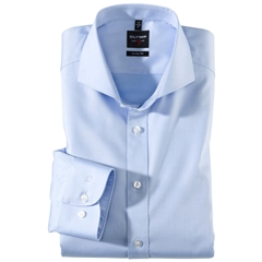 Copy of Olymp Level Five Body Fit Shirt  - Fine Twill Blue- 2007 64 11