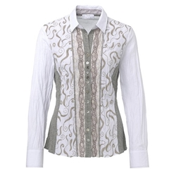 New Autumn 2017 Just White Embroidered Lace Tailored Shirt
