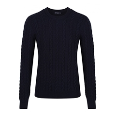 New For Autumn Hackett Cable Crew Jumper - Navy