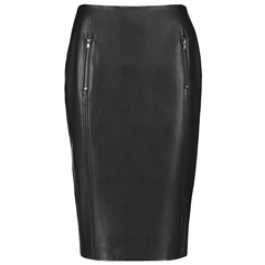 Taifun Knee Length Faux Leather Skirt - Black