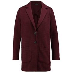Taifun Casual Long Blazer in Jersey Jacquard - Redwine