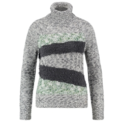 Taifun Polo Neck Jumper With a Stripe Pattern - Grey