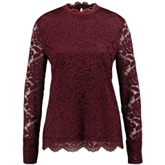 Taifun Lace Top with a Stand-up Collar -Red Wine