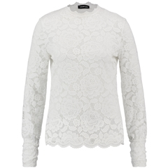 Taifun Lace Top with a Stand-up Collar - Off White
