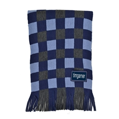 Men's Knitted Scarf - Blue Acrylic Check Scarf