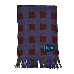 Men's Knitted Scarf - Check Scarf Red
