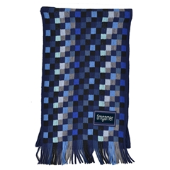 Men's Knitted Scarf - Check Scarf Blue