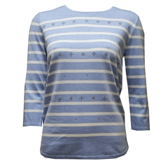 Sweatshirt with a dazzling rhinestone applique - Blue Stripe