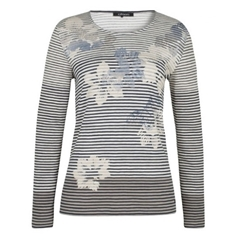 Olsen Striped Floral top - Pale Blue