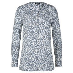 Olsen Blouse Butterfly Print - Blue Denim