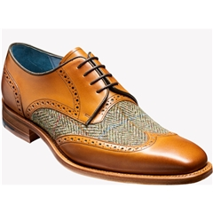 Barker Shoes Style: Jackson - Cedar Calf/Green Harris Tweed