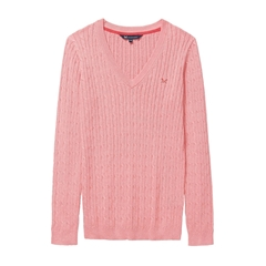 New 2018 Crew Women's Heritage Cable V Neck Jumper - Dawn Pink Marl