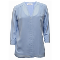 New 2018 Just White Mesh Blouse - Sky Blue