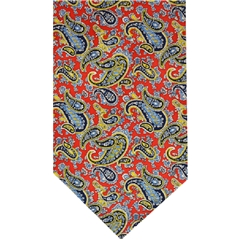 Red Silk Cravat with Gold Paisley