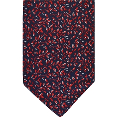 Navy Silk Cravat with Small Red Leaves