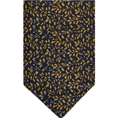 Navy Silk Cravat with Small Yellow Leaves