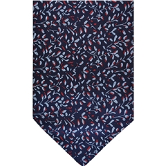 Navy Silk Cravat with Small Silver Leaves