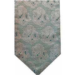 Pale Green Silk Cravat with Silver Paisley Design