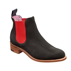 New 2018 Women's Barker Shoes Style: Violet - Black Suede/Red elastic