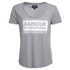 New 2018 Barbour Women's International Track Tee - Light Grey