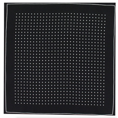 Mens Silk Pocket Handkerchief - Black With White Spots and Border