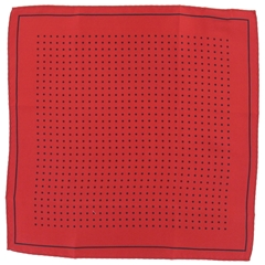 Mens Silk Pocket Handkerchief - Red With Black Spots and Border