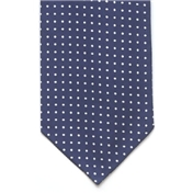 Mens Silk Cravat - Blue/white Polka Dot