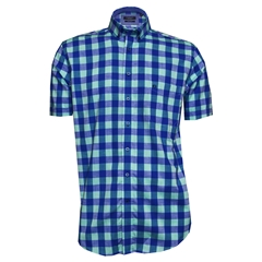 New 2018 Giordano Shirt - Blue Green Check - Regular Fit