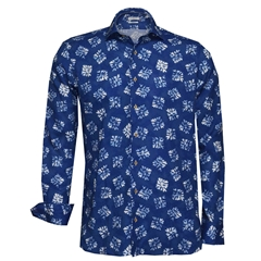 New 2018 Giordano Linen Shirt - Blue Abstract