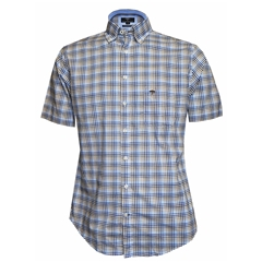 New 2018 Fynch Hatton Half Sleeve Shirt - Blue & Fawn - 5XL Only
