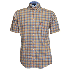 New 2018 Fynch Hatton Half Sleeve Shirt - Mango & Blue