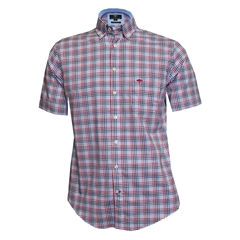 New 2018 Fynch Hatton Half Sleeve Shirt - Berry & Blue