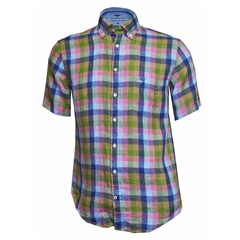 New 2018 Fynch Hatton Half Sleeved Linen Shirt - Multi Check