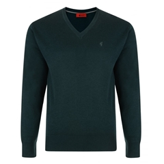 Gabicci Classic Knitted Plain V Neck - Bottle Green