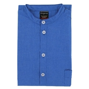 Men's Nightshirt - Grandad Collar - Plain Blue