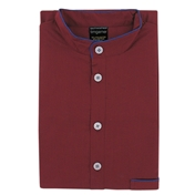 Men's Nightshirt - Grandad Collar - Plain Wine