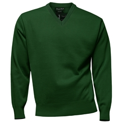 Franco Ponti Classic Vee Neck Sweater - Medium Weight - Bottle Green