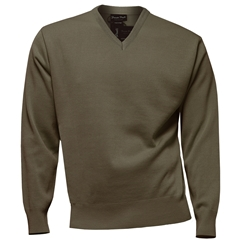 Franco Ponti Classic Vee Neck Sweater - Medium Weight - Taupe