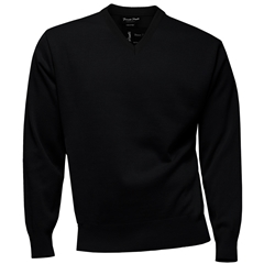 Franco Ponti Classic Vee Neck Sweater - Medium Weight - Black