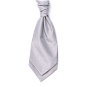Men's Shantung Wedding Cravat- Silver