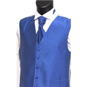 Men's Shantung Wedding Waistcoat- Airforce
