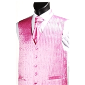 Men's 'Crinkle Finish' Wedding Waistcoat- Pink