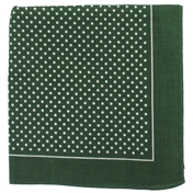 Bandana or Large Handkerchief - Green Polka Dots