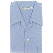 Men's Brushed Cotton Pyjamas - Blue Herringbone - Elastic or Tie Waist