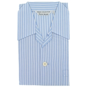 Men's Cotton Pyjamas - Blue White Stripe - Elastic Waist