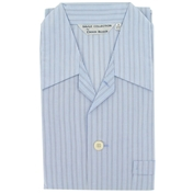 Men's Cotton Pyjamas - Blue Wide Stripe - Elastic Waist