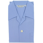 Men's Cotton Pyjamas - Plain Blue - Tie Waist