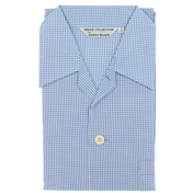 Men's Cotton Pyjamas - Blue Gingham - Tie Waist