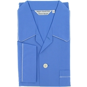 Men's Derek Rose Cotton Pyjamas - Saxe Blue - Elasticated Waist